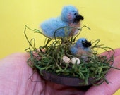 Mommy and Baby Bluebirds Felted Wool Ornament