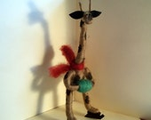 Giraffe on Skates Wool Wrapped and Felted Ornament
