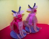 Wool Reindeer on Saucer Ornament