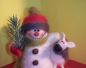 Chilly and Ewe Snowman Felted Wool Ornament