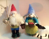 Mr. and Mrs Gnome Wool Wrapped and Felted Dolls/Ornaments