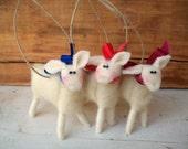 Mini Wool Wrapped/Needle Felted Lamb Ornament