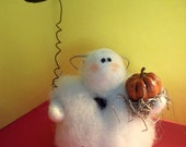 MIni Ghost Wool Wrapped and Needle Felted Decoration
