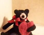 Wool Wrapped Black Valentine Bear