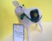 Lucky Ewe Felted and Wool Wrapped Sheep Ornament/Figurine