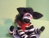 Zebra on Saucer Sled Felted Wool Ornament