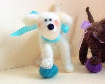 Play Ball Felted Wool Dog Ornament/Figurine