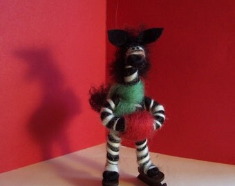Zebra on Skates Felted Wool Ornament
