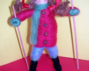 Wool Wrapped Girl Skier Ornament