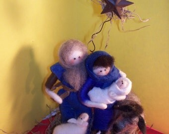 Nativity with Wool Figures