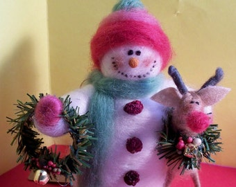 Snowman and Reindeer Felted Wool Ornament