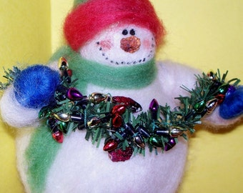 Snowman with String of Lightes Felted Wool Ornament