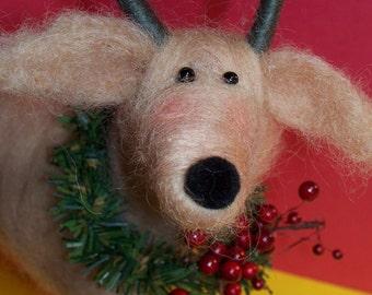 Rennie the Reindeer Felted Wool Sculpture