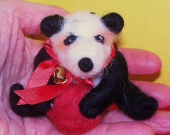 Wool Wrapped Panda Bear Ornament