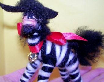 Zeke the Zebra Wool Ornament