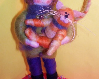 Child and Kitty Wool Figurine or Ornament
