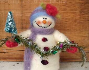 Sophie the Snowlady Wool Wrapped/Needle Felted Ornament/Figurine
