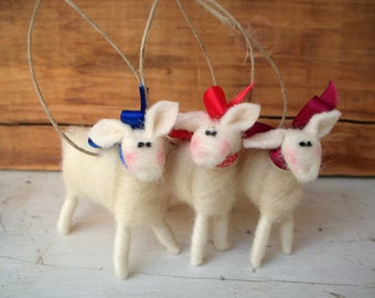 Mini Wool Wrapped/Needle Felted Lamb Ornament