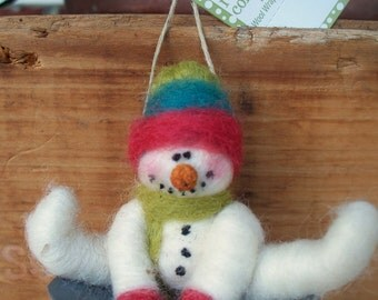 Snowman on Saucer Wool Wrapped/Needle Felted Ornament
