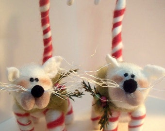 Candycane Kitty Wool Wrapped/Needle Felted Ornament