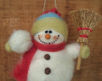 Snowman with Snowball and Broom Wool Wrapped and Needle Felted Ornament