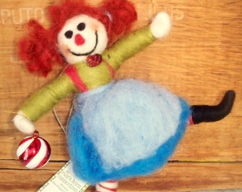 Raggedy Ann Wool Wrapped/Needle Felted Doll Ornament/Figurine