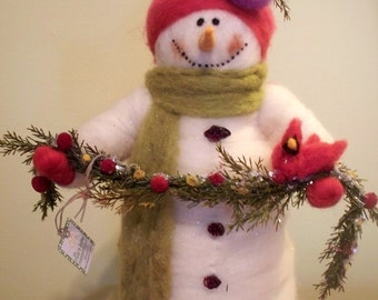 "Sarah the 13"" Snowlady Wool Wrapped/Needle Felted"