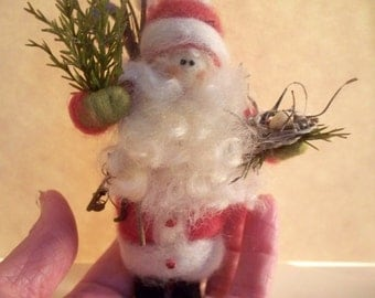 Mini Woodland Father Xmas Wool Wrapped/Needle Felted Ornament