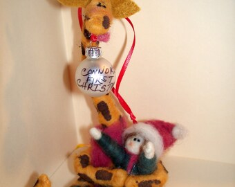 Baby's First Christmas Felted Ornament with Giraffe