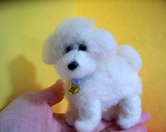 Bichon Felted Wool Dog  Sculpture/Ornament
