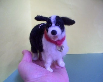 Border Collie Felted Wool Dog Ornament