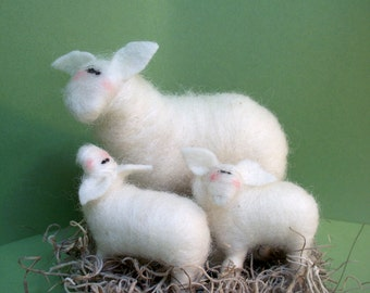 Mother's Day Sheep Mom and 2 Baby Lamb Felted Wool Figurine