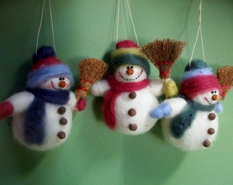 Snowman with Broom Felted Wool Ornament