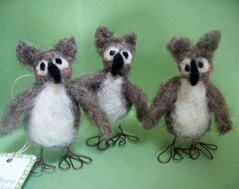 Miniature Felted Wool Owl - NEW for 2012