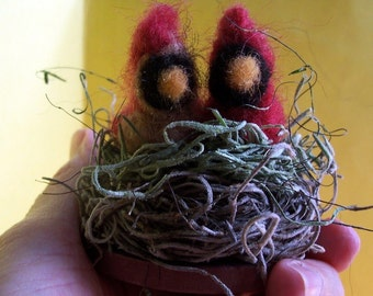 Wool Cardinal Couple in Nest
