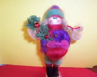 Little Girl With Christmas Presents Felted Wool Ornament