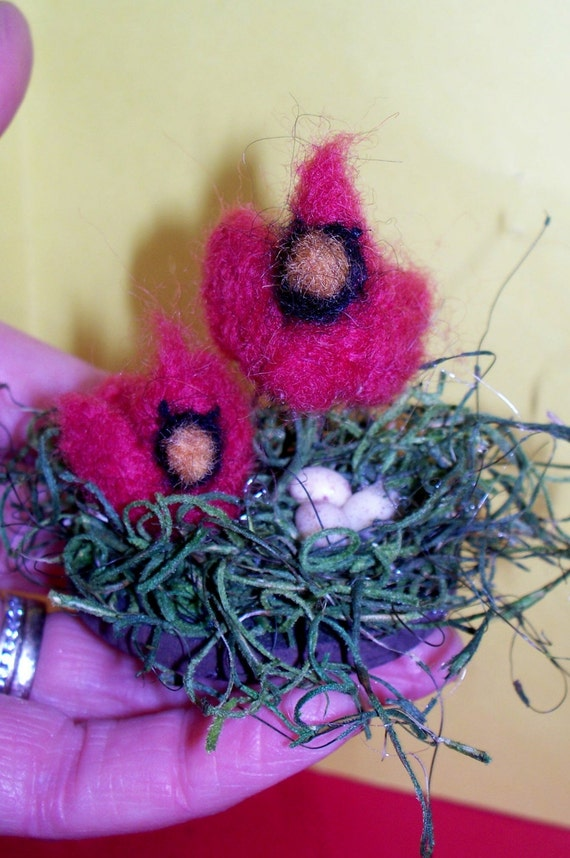 Wool Cardinal Family with Eggs Ornament