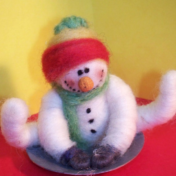 Wool Snowman on Saucer Ornament