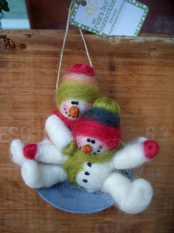 Snowmen on Saucer Sled Wool Wrapped/Needle Felted Ornament