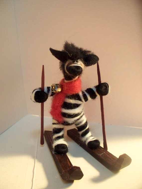 Zebra on Skis Wool Wrapped/Needle Felted Ornament