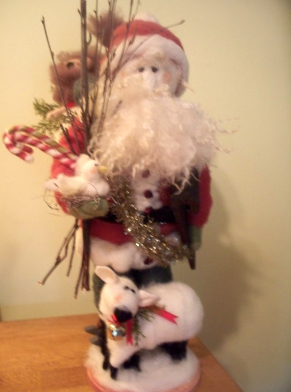 """Peace on Earth 22"""" Wool Wrapped/Needle Felted Santa"""
