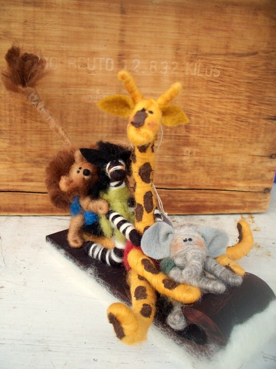 "Zoo Crew Felted 7"" Ornament or Figurine"