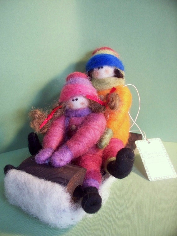 Double Trouble Felted Children on Toboggan