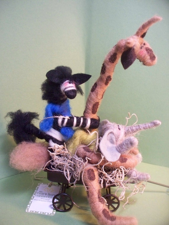 It All Happened At the Zoo Felted Wool Threesome in Wagon