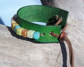 Green Meadow Leather and Bead Toggle Cuff