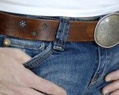 Bohemian Belly Deep Brown Leather Belt and Buckle