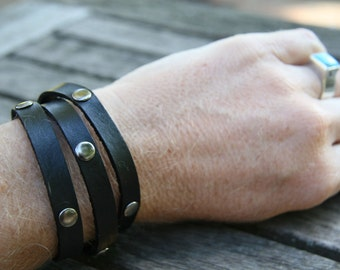 Triple Wrap Studded Leather Snap Bracelet