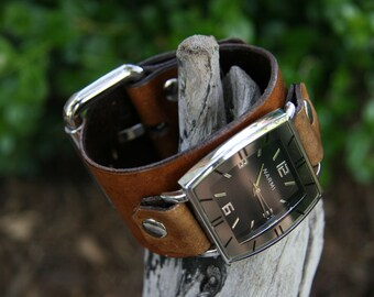 Hand-Crafted Classic Deep Tan Leather Watch for Men or Women