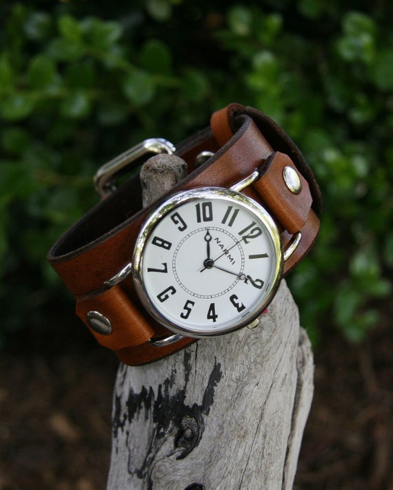 Hand-Crafted Big and Bold Deep Brown Leather Watch for Men and Women