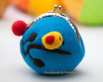 Wool coin Purse wallet, Coin Pouch, Change purse, frame coin purse Blue Bird Handmade